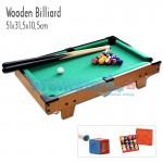 Ξύλινο Παιχνίδι Μπιλιάρδο - Πλήρες Σετ με Τσόχα, Στέκες & Μπάλες - 51x32cm