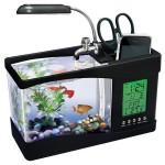 Mini Ενυδρείο - Μολυβοθήκη με Φωτισμό LED, Ηχείο & Οθόνη LCD με Ρολόι, Ημερολόγιο & Ξυπνητήρι USB