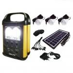 Mini Ηλιακό Πακέτο Φωτισμού & Φόρτισης με Panel, Μπαταρία με Φωτιστικό και Θύρα USB + 3 Λάμπες Led GD-8031