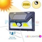 Mini Ηλιακό Solar Ευρυγώνιο Φωτιστικό - Προβολέας Ασφαλείας Τοίχου 180ᵒ Μοιρών LED με Ανιχνευτή Κίνησης & Αισθητήρα Νυκτός - Φωτοκύτταρο