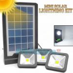 Mini Ηλιακό Σύστημα Φωτισμού με Powerbank USB, Ηλιακό Πάνελ 3W - Επιτοίχιο Φωτιστικό & 3 x Προβολείς LED 80LM - Solar Panel Lightning System