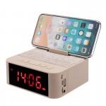 Ασύρματο Ηχείο Bluetooth & Ρολόι με Ξυπνητήρι, Μικρόφωνο Handsfree Ομιλία - Multimedia USB/SD/FM/AUX MP3 Player & Βάση Κινητού