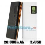 Power Bank 2,1A - Μπαταρία Γίγας 20.000mAh με 3x USB, Οθόνη Πληροφοριών & Dual LED