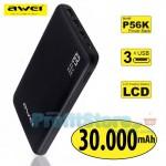 Power Bank 30.000mAh Awei®  P56K 3-Εξόδων Μπαταρία με Κομψό Σχεδιασμό