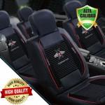Premium Σετ Universal Ανατομικά Καλύμματα Καθισμάτων Αυτοκινήτου από Αφρώδες Ύφασμα σε Μαύρο Χρώμα και Μαύρο Pu Leather με Κόκκινες Λεπτομέρειες 7τμχ