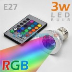 RGB Led Λάμπα E27 3Watt με Τηλεχειριστήριο και Εναλλαγή 16 Χρωμάτων
