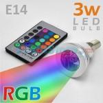 RGB Led Λάμπα E14 3Watt με Τηλεχειριστήριο και Εναλλαγή 16 Χρωμάτων