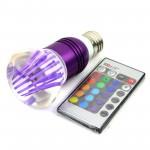 RGB Led Λάμπα E27 3Watt Διάχυτου Φωτισμού, Εναλλαγής 16 Χρωμάτων με Τηλεχειριστήριο