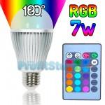 RGB Led Λάμπα E27 7Watt με Τηλεχειριστήριο και Εναλλαγή 16 Χρωμάτων