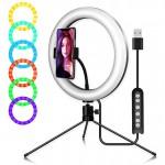 RGB Φωτογραφικό Φωτιστικό Δαχτυλίδι LED 26cm Πολύχρωμο USB με Τρίποδο & Βάση Στήριξης Κινητού - Ring Light Lamp OEM