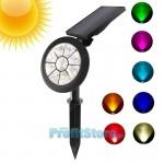 RGB Πολύχρωμο Ηλιακό Αδιάβροχο Φωτιστικό Εξωτερικού Χώρου Προβολέας Κήπου Spot με 9 LED - Καρφωτό & Επιτοίχιο -  Waterproof Solar Spotlight Lamp