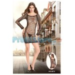 Sexy Mini Φόρεμα με Σχέδια από Δίχτυ και Μακριά Μανίκια 8974 - Sexy Lingerie