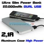 Slim Power Bank Υψηλής Απόδοσης & Ισχύος 2,1A - Μπαταρία Φορτιστής 20.000mAh SuperPower