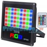 Slim Ultra Bright RGB LED Προβολέας 50W Αδιάβροχος με Τηλεχειρισμό & Εναλλασσόμενο Πολύχρωμο Φωτισμό