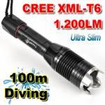 Slim Καταδυτικός Φακός 1200LM Υπέρ-υψηλής φωτεινότητας CREE LED T6