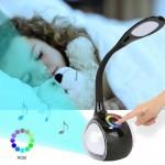 Smart Φωτιστικό Αφής LED & Bluetooth Ηχείο με Εύκαμπτο Βραχίονα - Colour Control Speaker Table Lamp & Night Light Μαύρο