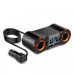 Splitter Αναπτήρα με Dual 2x Φορτιστή USB, Βολτόμετρο & Θερμόμετρο Αυτοκινήτου