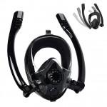Sub Full Face Snorkel Mask - Ολοπρόσωπη Μάσκα Θάλασσας / Κατάδυσης με 2 Αναπνευστήρες και Βάση για Action Camera S/M για Παιδιά HJKB K2 Μαύρη OEM