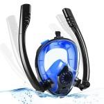 Sub Full Face Snorkel Mask - Ολοπρόσωπη Μάσκα Θάλασσας / Κατάδυσης με 2 Αναπνευστήρες και Βάση για Action Camera S/M για Παιδιά HJKB K2 Μπλέ/Μαύρη OEM