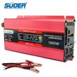 Suoer Inverter Αυτοκινήτου - Φωτοβολταικών - 1000W Τροποποιημένου Ημιτόνου από 12V σε 220V+5V USB με LCD Οθόνη