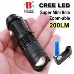 Super Mini Φακός 200 Lumens  Υψηλής Φωτεινότητας CREE LED Q5 - Zoomable BL-8468