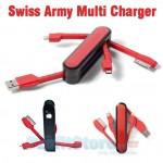 USB Καλώδιο Πολυφορτιστής Swiss Army για Smartphones, iPhone4/5 & Tablets