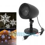 USB Νυχτερινός Διακοσμητικός Χριστουγεννιάτικος Φωτισμός Λευκές Χιονονιφάδες - Προβολέας laser Προτζέκτορας