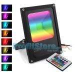 Ultra Slim RGB LED Προβολέας 20W Αδιάβροχος με Τηλεχειρισμό & Πολύχρωμο Φωτισμό