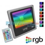 Ultra Slim RGB LED Προβολέας 30W Αδιάβροχος με Τηλεχειρισμό & Πολύχρωμο Φωτισμό