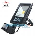 Ultra Slim Προβολέας LED 20w με Ανιχνευτή Κίνησης Λευκό 6000K Υψηλής Φωτεινότητας