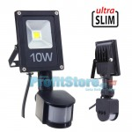 Ultra Slim Προβολέας LED 10w με Ανιχνευτή Κίνησης Λευκό 6000K Υψηλής Φωτεινότητας