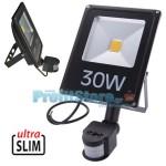 Ultra Slim Προβολέας LED 30w με Ανιχνευτή Κίνησης Λευκό 6000K Υψηλής Φωτεινότητας