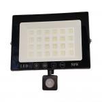 Ultra Slim Προβολέας SMD LED 50w Ip66  με Ανιχνευτή Κίνησης Λευκό 6000K Υψηλής Φωτεινότητας