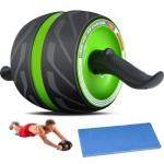Ultra Wide Ρόδα Εκγύμνασης Κοιλιακών με Αντίσταση - Επαναφορά & Φρένο - Περισσότερη Ισορροπία & Σταθερότητα - AB Wheel Automatic Rebound - Πράσινο