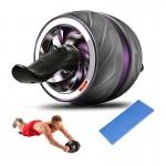 Ultra Wide Ρόδα Εκγύμνασης Κοιλιακών με Αντίσταση - Επαναφορά & Φρένο - Περισσότερη Ισορροπία & Σταθερότητα - AB Wheel Automatic Rebound - Μωβ