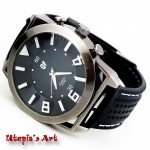 Unisex Sport ρολόι με λουράκι από καουτσούκ & καντράν 50mm Utopia s Art