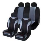 Σετ Universal 9τμχ Πολυεστερικά Καλύμματα Καθίσματος Αυτοκινήτων Γκρι-Μαύρο Carsun