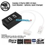 Combo Usb Hub 2 Θέσεων, Card Reader και Φορτιστής για iPhone & iPad