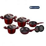 Σετ 10 τμχ μαγειρικά σκεύη με μαρμάρινη επίστρωση, Burgundy Granit Line New Edition BL-306
