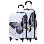 Σετ 2 Βαλίτσες Ταξιδιού ABS με Τηλεσκοπικό Χερούλι, Ροδάκια & Κλείδωμα Ασφαλείας Butterfly