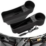 Σετ 2 Θήκες Οργάνωσης Αυτοκινήτου - Βάσεις με Ποτηροθήκη & Κουμπαρά & 4 USB - Car Storage Box USB