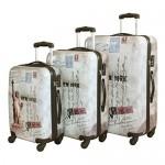 Σετ 3 Βαλίτσες Ταξιδιού ABS με Τηλεσκοπικό Χερούλι, Ροδάκια & Κλείδωμα Ασφαλείας New York