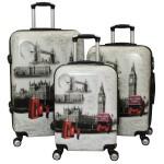 Σετ 3 Βαλίτσες Ταξιδιού ABS με Τηλεσκοπικό Χερούλι, Ροδάκια & Κλείδωμα Ασφαλείας London