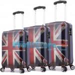 Σετ 3 Βαλίτσες Ταξιδιού ABS με Τηλεσκοπικό Χερούλι, Ροδάκια & Κλείδωμα Ασφαλείας UK Flag