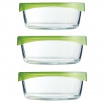 Σετ 3 Πυρέξ - Φαγητοδοχεία - Στρογγυλό Γυάλινο Φαγητοδοχείο με Καπάκι για Σφράγισμα - GreenGlass Pyrex