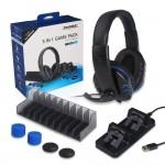 Σετ 5 σε 1 με Διπλή Βάση Φόρτισης Χειριστηρίων, Gaming Ακουστικά με Μικρόφωνο & Βάση Στήριξη Παιχνιδιών PS4 - Charging Dock, Headphones & Stand for PS4 Controllers DOBE
