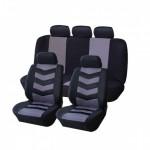 Σετ 8 Τεμαχίων Προστατευτικά Πολυεστερικά Καλύμματα Καθισμάτων Αυτοκινήτου σε Μαύρο/Γκρι Χρώμα