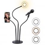 Βάση Live Streaming με Φωτογραφικό Φωτιστικό Δαχτυλίδι 9cm με Βάση Κινητού & Μικρόφωνου - Ring Lamp Light LED