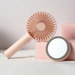 Μίνι USB Επαναφορτιζόμενος Φορητός Ανεμιστήρας με Βάση Καθρέφτη - Makeup Mirror Handheld Fan Ροζ