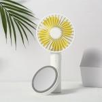 Μίνι USB Επαναφορτιζόμενος Φορητός Ανεμιστήρας με Βάση Καθρέφτη - Makeup Mirror Handheld Fan Λευκό/Κίτρινο